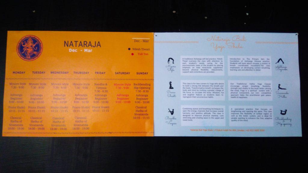 バリ島クロボカンのヨガシャラ&ベジタリアンレストラン、ヨガスケジュール