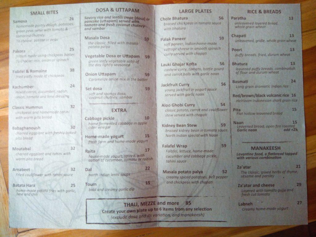 バリ島クロボカンのヨガシャラ&ベジタリアンレストラン、メニュー