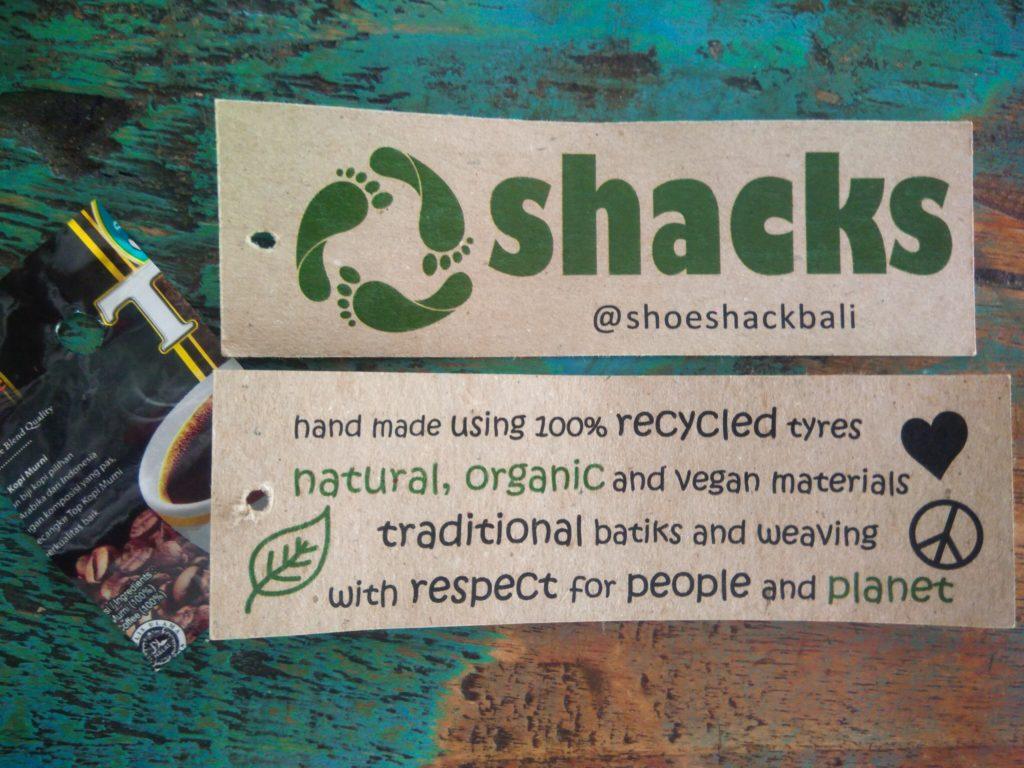 バリ島リサイクルタイヤのエコサンダル、Shoe Shackラベル