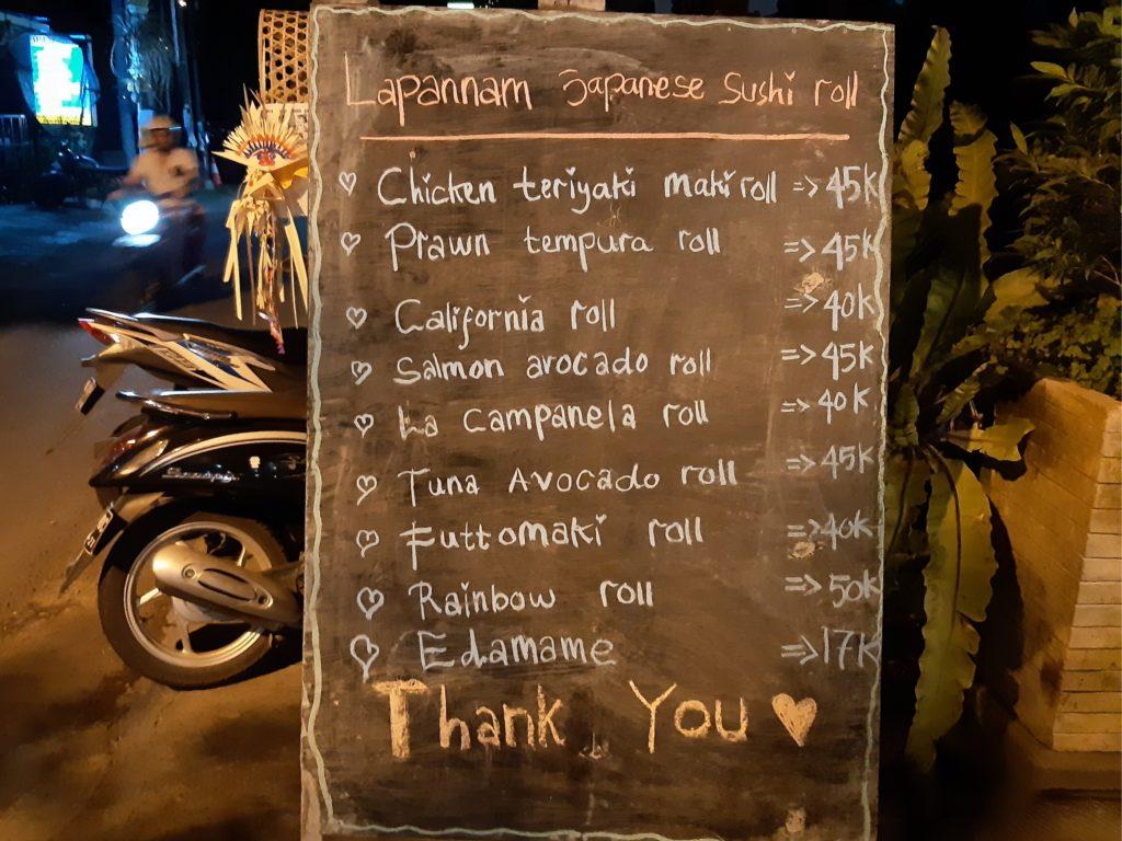 チャングー安くて美味しいレストランLa Pan nam黒板メニュー