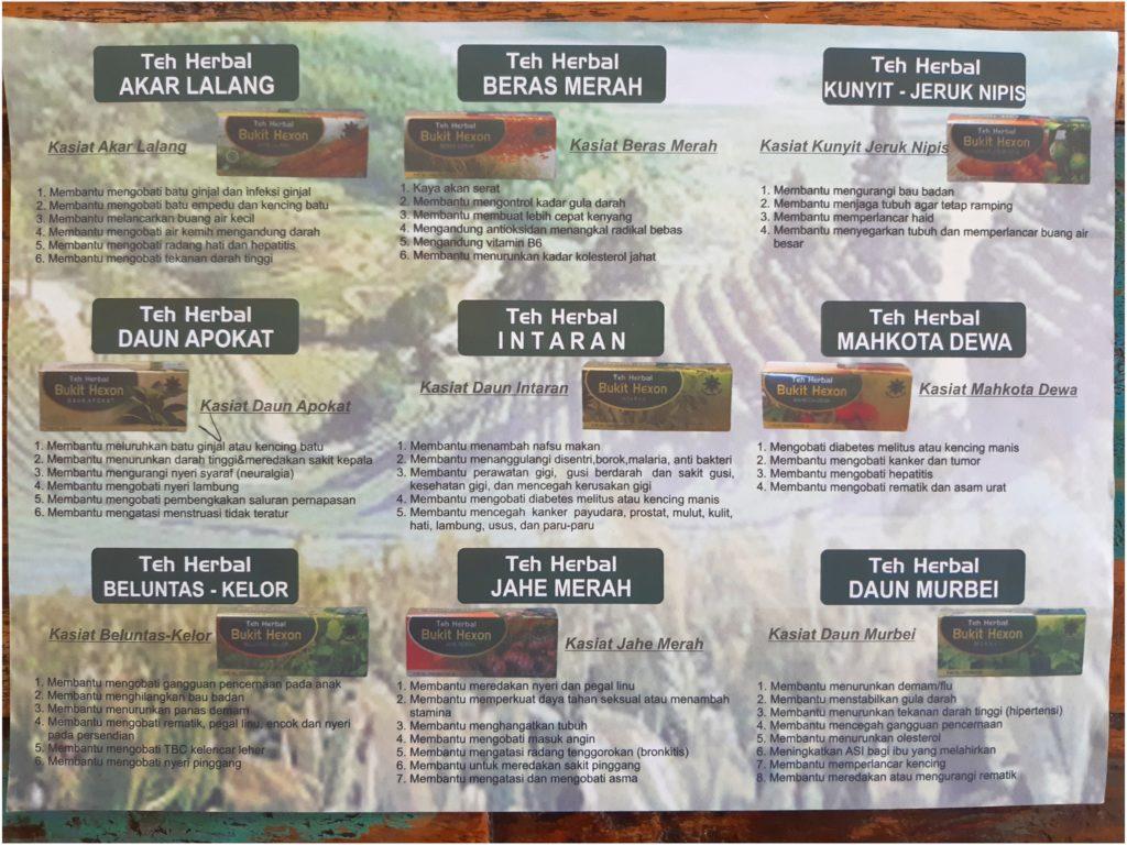 バリ島ボカシオイルPak Olesのハーブティー種類