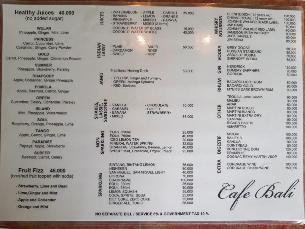 バリ島老舗カフェ・レストラン「Cafe Bali」ドリンクメニュー