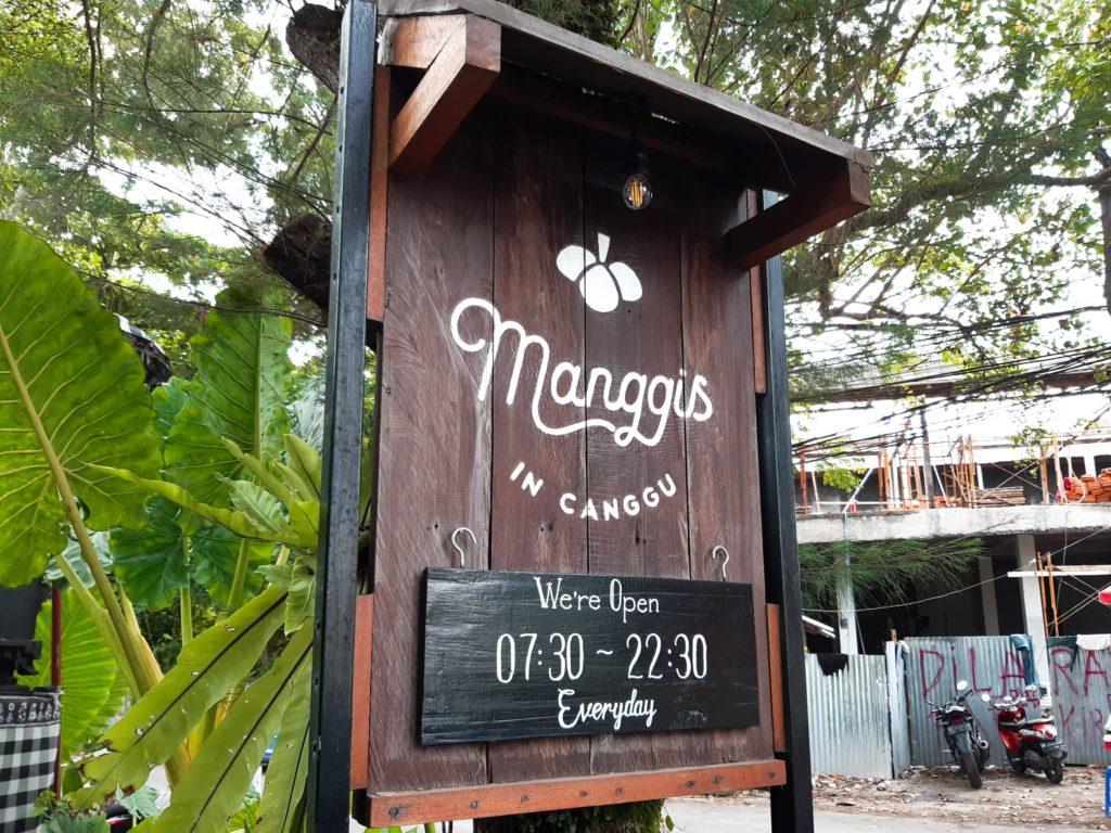 チャングーのヴィーガンレストラン「Manggis」看板