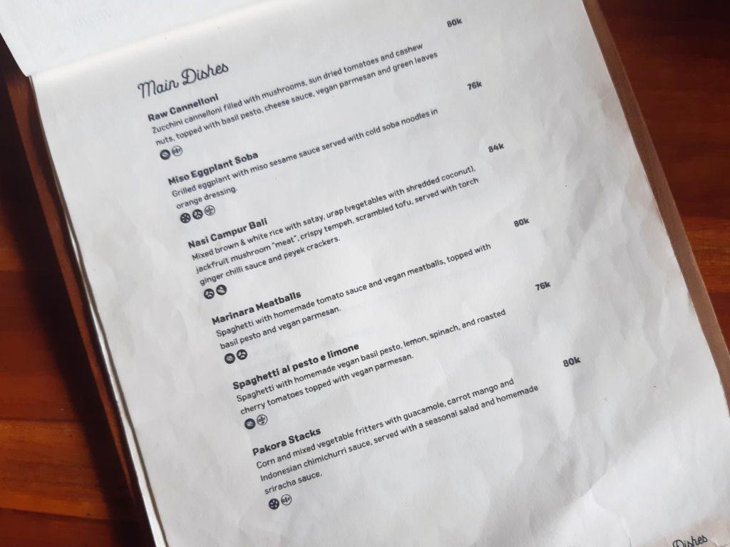 チャングーのヴィーガンレストラン「Manggis」メニュー3