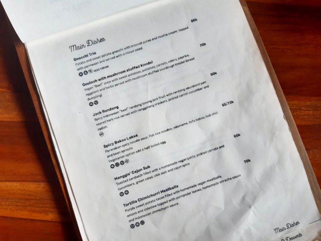 チャングービーガンレストラン「Manggis」メニュー4