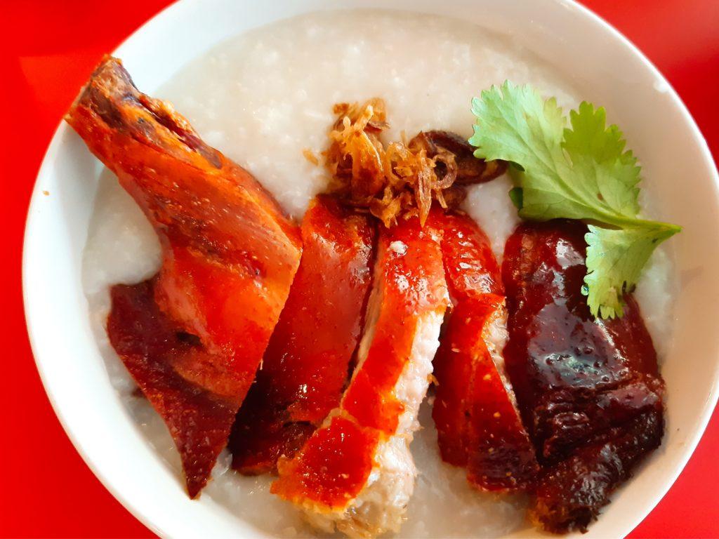 バリ島中華料理、香港レストランのローストダックのお粥