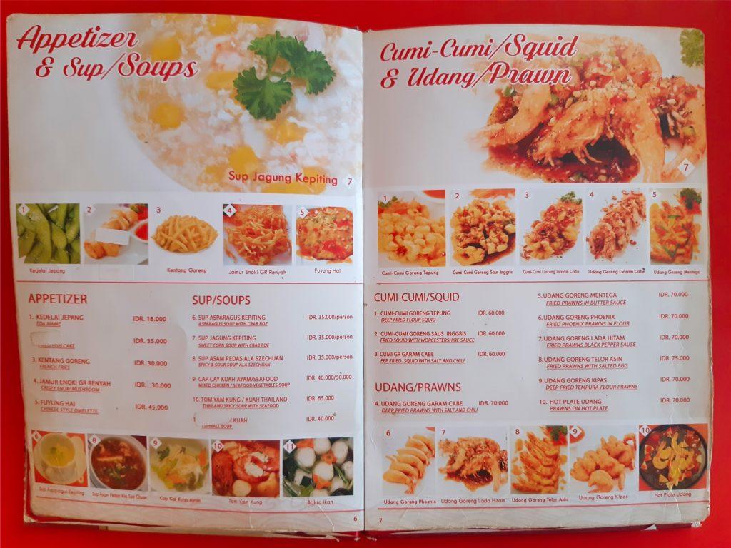 バリ島中華料理、香港レストランのスープとシーフード系メニュー