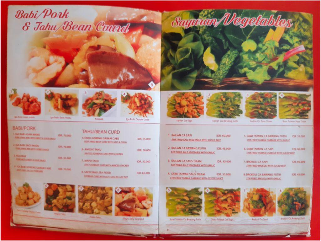 バリ島中華料理、香港レストランの豚肉・野菜メニュー
