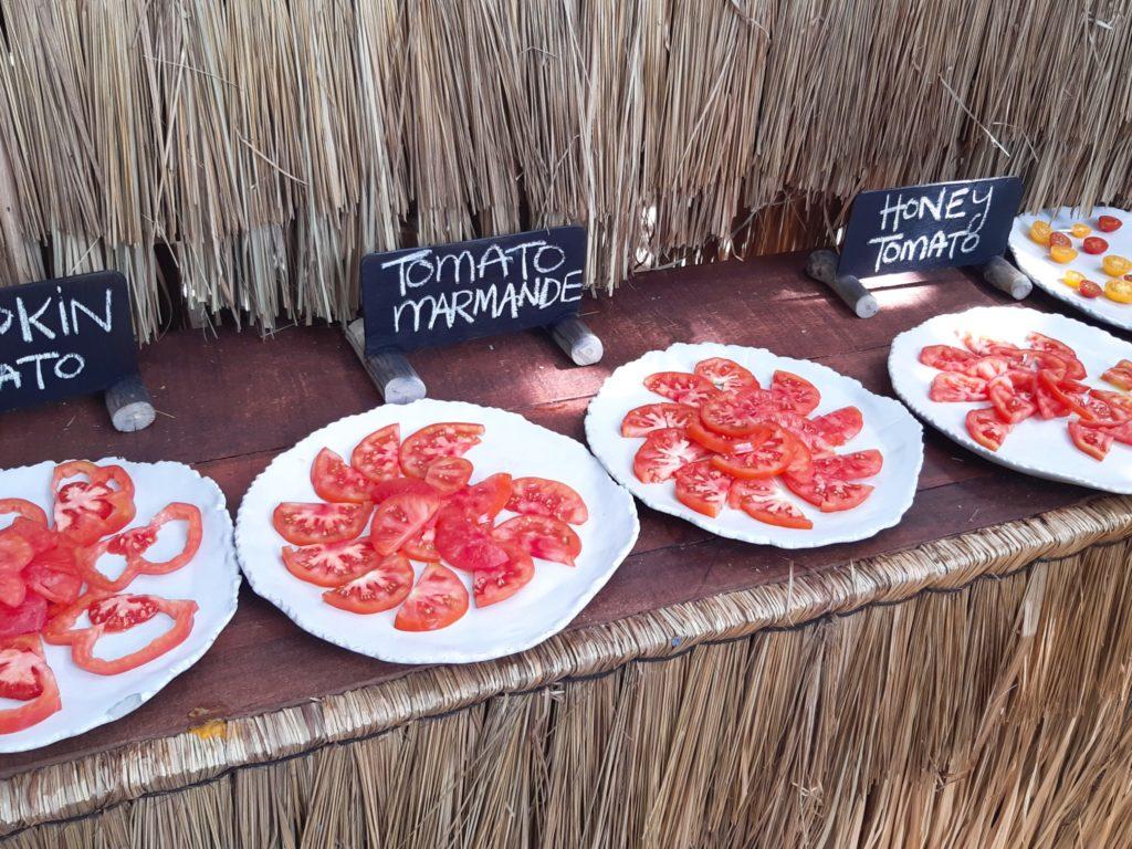 バリ島チャングービーチクラブLa Brisaのマーケット、トマト試食