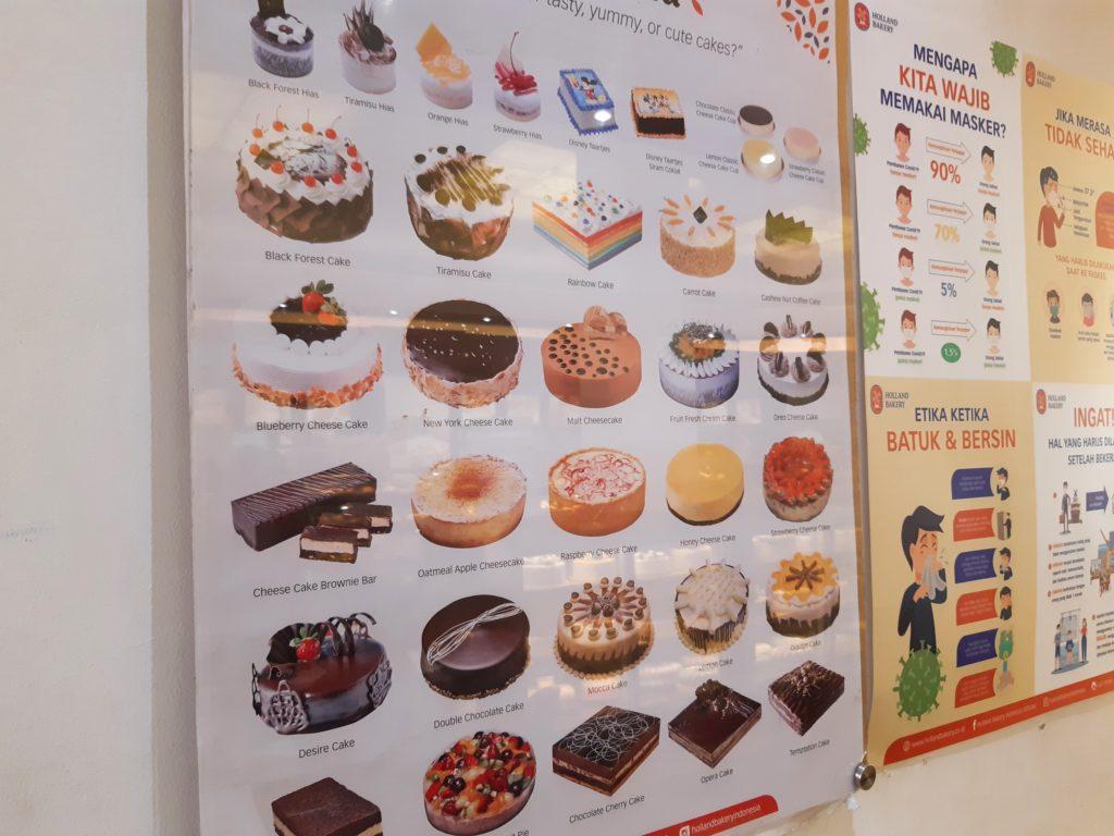 バリ島パン&ケーキ屋ホーランドベーカリーのケーキメニュー